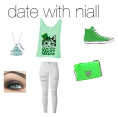 """""""date with Niall"""" by calimybae ❤ liked on Polyvore featuring bellezza, Frame Denim, Converse e Love Moschino"""
