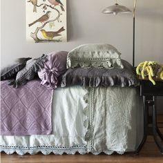Linen Duvet Cover with Crochet Lace