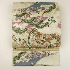 Beige maru obi / 【丸帯】ベージュ地扇面花鳥柄   #Kimono #Nikko #Japan http://global.rakuten.com/en/store/
