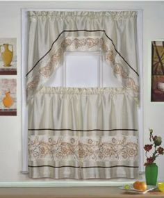 "DreamHome - Emily 3 Piece 36"" Kitchen Tier Set, Beige by DreamHome. $18.00. Embroidered. Rod pocket. 100% Polyester. Machine washable. 3 Piece set: (1) Valance 60""W x 38""L, (2) Tiers 30""W x 36""L. The Emily tier set is an elegant and fresh solution for your kitchen windows. A beautiful floral scroll embroidery highlights both the valance and the tiers. Sold as a complete set: you get one valance (60""W x 38""L) and two tiers (each 30""W x 36""L). Rod pocket for easy installation. Kitchen Window Treatments, Tear, Rod Pocket, Get One, Kitchen Windows, Valance Curtains, Home Kitchens, 3 Piece, Elegant"