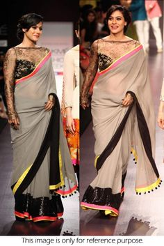 Bollywood Style Kajol 60 GM Georgette Saree In Grey and Black Colour NC130