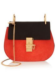 Chloe Drew Small Leather and Suede Shoulder Bag