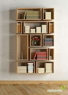 7 Reliable Cool Tips: Large Floating Shelf Decor floating shelves apartment bookshelves.Floating Shelves Ideas Shoe Storage how to build floating shelves subway tiles.How To Decorate Floating Shelves Office. Creative Bookshelves, Bookshelf Design, Bookshelf Ideas, Floating Bookshelves, Wall Bookshelves, Shelving Ideas, Modern Bookshelf, Homemade Bookshelves, Homemade Shelves