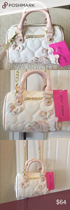 "🦋NWT!🦋BETSEY JOHNSON MINI SATCHEL XBODY BAG BRAND NEW! AUTHENTIC BETSEY JOHNSON MINI SATCHEL XBODY BAG-Approximate Measurements are  8"" X 6"" X 2 1/4"", with a detachable strap with an approximate strap drop of 24"".... Betsey Johnson Bags Mini Bags"