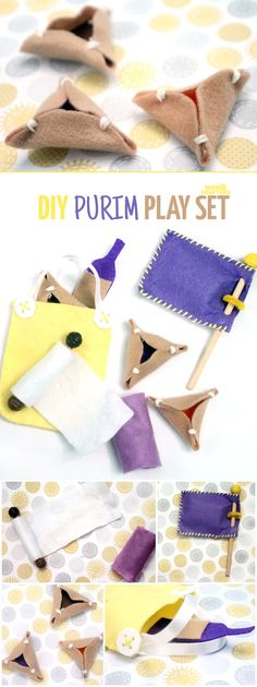 "Make an adorable purim play set from felt! This DIY toy for the holiday of Purim includes hamantaschen, a megillah, a food package with ""grape juice"", and a gragger/noisemaker. It's an adorable DIY toy for toddlers and great for introducing the Jewish holidays to young kids."