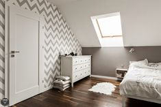 Simple yet elegant bedroom design with an open roof window to give it a modern feel! Attic Master Bedroom, Attic Bedroom Designs, Home Bedroom, Elegant Bedroom Design, Modern Home Interior Design, Kura Ikea, Houses In Poland, Tranquil Bedroom, Contemporary Bedroom Furniture