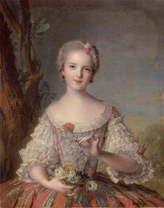 Jean Marc Nattier   Princess Louise Marie de France or Marie Louise and sometimes just Louise (15 July 1737 - 23 December 1787) was the youngest of the 10 children of Louis XV of France and his Queen consort Maria Leszczyńska. As a daughter of the king, she held the rank of a fille de France. Louise outlived her father, mother, and all of her siblings except for her two older sisters, known Madame Adélaïde and Madame Victoire.