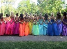 Rainbow bridesmaid dresses!<3