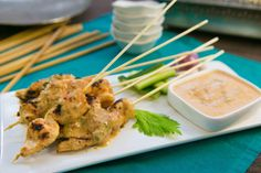 Malaysian Chicken Satay, chilli & lemongrass: Spicy chicken skewers and a nutty dipping sauce Chicken Satay, Chicken Skewers, Tandoori Chicken, Gourmet Garden, Malaysian Cuisine, Christmas Lunch, Lemon Grass, Gourmet Recipes, Chili