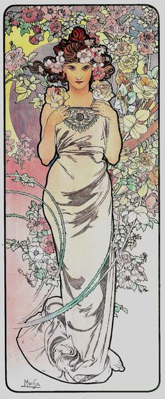 """Les Fleurs: The Rose, from a set of four: The Rose, The Iris, The Carnation, and The Lily. by Alphonse Mucha, 1898. Colour lithograph; 101.6 x 41.3 cm (39 3/4 x 16 1/4"""") 