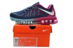#esty 698903-003 2014 / 2015 Womens Shoes Nike Air Max 2015 Dark Obsidian Magenta Canal Blue Red