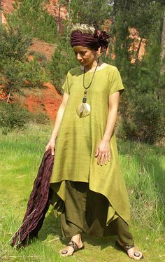 Set in raw silk:  Lime green tunic and harem pants