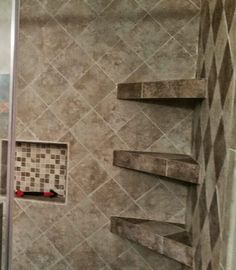 Tiled Corner Shelves Built In Shower Shelving