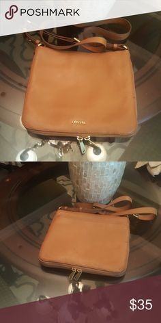 Fossil crossbody purse Leather camel crossover  purse with dust bag.  Small penmark on back.  Interior in excellent condition. Fossil Bags Crossbody Bags
