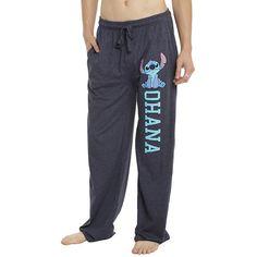 Disney Lilo Stitch Ohana Guys Pajama Pants Hot Topic ($16) ❤ liked on Polyvore featuring intimates, sleepwear, pajamas, pants, cotton pyjamas, disney, cotton pj pants, cotton pjs and blue pajamas