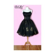 1950's Black & Gold Tea Length Party Dress vintage dresses evening formal party 50's ($339) found on Polyvore