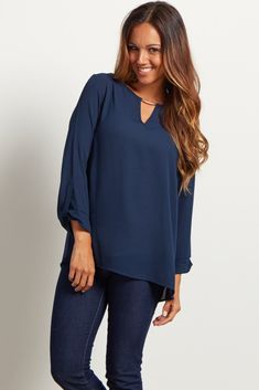e9b8e57b59cb9 Navy Blue Flowy Maternity Blouse Chiffon Material, Maternity Tops, Work  Attire, Bell Sleeves