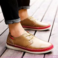 US $25 Luxury Brand Men Causual Shoes Lace Up Round Toe Shoes Camp Shoes Derby Oxford Street Style Tan Brown Big Size
