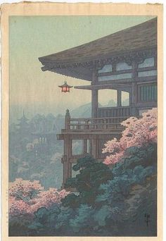 TEMPLE CORNER BY ITO YUHAN. The colors, composition and atmosphric perspective alone would be enough to make this a favorite… Japanese Artwork, Japanese Painting, Japanese Prints, Japanese Colors, Chinese Painting, Japon Illustration, Japanese Illustration, Botanical Illustration, Japanese Aesthetic