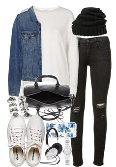 Outfit for travelling by ferned featuring a vintage jean jacket Topshop top, 43 AUD / Proenza Schouler vintage jean jacket, 670 AUD / Rag & bone rag bone skinny jeans, 340 AUD / Henri Bendel canvas footwear, 88 AUD / Yves saint laurent purse /...
