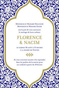 Faire-part de mariage Byzance by Clémence Gantois pour Rosemood.fr #wedding #invitation #card #announcement #oriental #papeterie