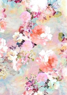 'Romantic Pink Teal Watercolor Chic Floral Pattern' iPhone Case by GirlyTrend - floral graphic borders - Wallpaper Iphone Wallpaper Modern, Wallpaper Pastel, Floral Wallpaper Phone, Pastel Background Wallpapers, Flower Backgrounds, Pretty Wallpapers, Flower Wallpaper, Wallpaper Art, Iphone Backgrounds