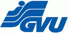 Het logo van GVU. Het logo is duidelijk en kleurrijk. Je herkent het logo gelijk door de kleur en de 3 strepen.