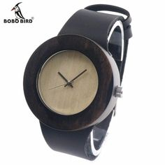 Retro Round Women's Wooden Watches With real leather bands top brand designer classic style dress watches for women