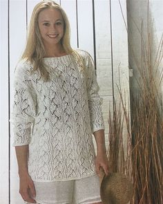 Skøn retro: Damebluse i tulipan-hulmønster - Hendes Verden Knitting Patterns Free, Free Knitting, Retro, Plus Size Maxi, Drops Design, Pullover, Knitted Shawls, Vintage Lace, Knit Crochet