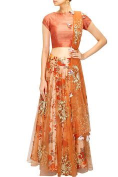 Orange and floral print rose embroidered lehenga set available only at Pernia's…