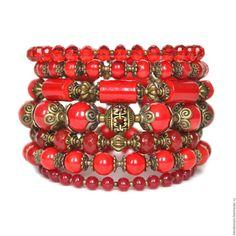 """Купить Браслет """"МИЛЕДИ"""" - ярко-красный, авторские украшения, стильные штучки, бохо, бохо стиль"""