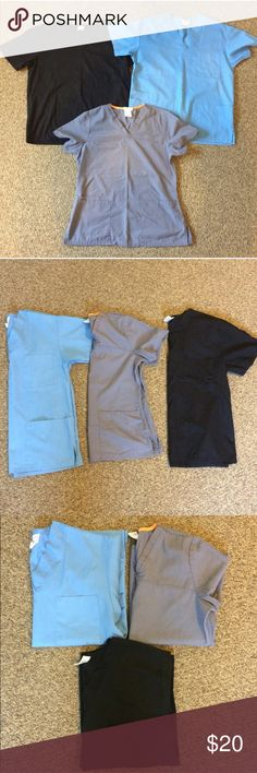 Scrub Top BUNDLE BUNDLE of 3 scrub tops. One black, one gray, one Carolina blue. All size small and in EUC other than the size wearing off the tag on the Peaches top as pictured. Check my closet for other scrubs! Save on shipping with this bundle! Tops