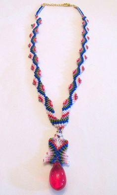 Macrame Necklace  Czech Bead Necklace  CordRobe by Rosestyle