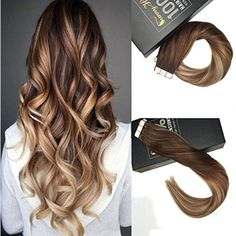 """Sunny 22"""" Human Hair Tape in Extensions Balayage Extensions Dark Brown Ombre Medium Brown Highlight Blonde Tape in Hair Extensions Human Hair 20pcs 50G -- Check out the image by visiting the link. (This is an affiliate link) #PersonalCare"""