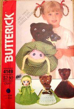 80s Butterick 4149 Goldilocks 3 Bears Reversible Doll Pattern UNCUT | PatternGate - Craft Supplies on ArtFire