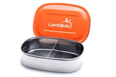 LunchBots Duo: Stainless steel boxes with stainless steel lids, dishwasher safe, available in a variety of configurations. $14.99