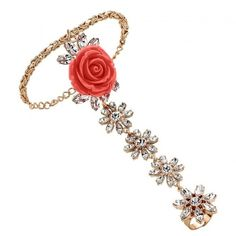 MAWI Rose Garden Finger Chain Bracelet ($410) ❤ liked on Polyvore featuring jewelry, bracelets, red, red swarovski crystal bracelet, mawi, mawi jewelry, swarovski crystal bracelet and rose gold plated bracelet
