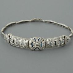 Art Deco Diamond Bracelet Antique Sapphires