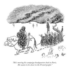 """""""He's moving his campaign headquarters back to Paris. He wants to be clos…"""" - New Yorker Cartoon Premium Giclee Print by Frank Cotham at AllPosters.com"""