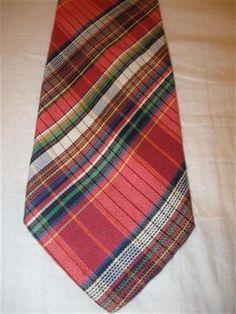 Vintage Kriziauomo Italy 100% Silk Multicolor Stripes & Plaids Woven Necktie…