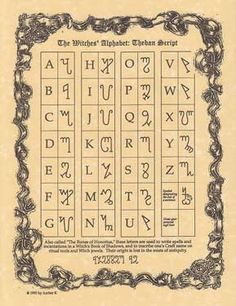 The Witches' Alphabet: Theban Script. Our parchments make for the perfect addition to ones Book of Shadows. Place an entire parchment within or cut fragments of your parchment to include in different