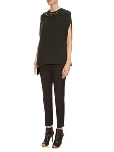 Valentino Multi-strap neckline silk-cady top