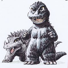 Shinji Nishikawa. All Godzilla Monsters, Godzilla Comics, Cool Monsters, Horror Monsters, Classic Monsters, Original Godzilla, Godzilla Tattoo, Godzilla Wallpaper, Mickey Mouse Art