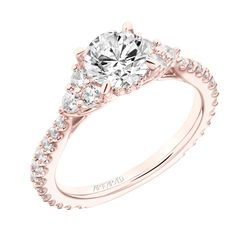 New for our Spring collection! Clio: Classic Three Stone Cluster Diamond Engagement Ring with Diamond Shank #artcarvedbridal #spring #rosegold #engagementring
