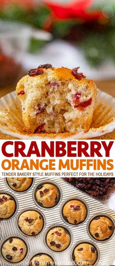 Cranberry Orange Muffins are the perfect holiday sweet treat made with dried cra. Cranberry Orange Muffins are the perfect holiday sweet treat made with dried cranberries, orange zest and a super tender bakery-style muffin. Lemon Cranberry Muffins, Cranberry Cake, Cranberry Recipes, Holiday Recipes, Muffin Recipes, Baking Recipes, Breakfast Recipes, Dessert Recipes, Breakfast Muffins