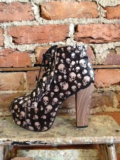Goth Black Velvet Skull Pattern Lace Up by pdvintageboutique, $48.00