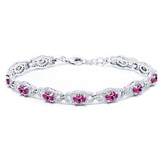 "10.20 Ct Oval Pink Created Sapphire 925 Sterling Silver 7 Inch Bracelet With 1 Inch Extender. VIBRANT- Gemstones make this bracelet beautiful and romantic all at once! This bracelet is a truly outstanding piece that belongs in every jewelry collection. UNIQUELY DESIGNED- With simplicity in mind this bracelet is the perfect item for gift givers who want to show they care. Perfect for birthdays, weddings, mother day or just those moments when you want to get something for that ""Someone…"