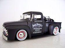 1956 Ford F100 Jack Daniels Gráficos Personalizados Em Metal Fundido Pickup + Moto Harley