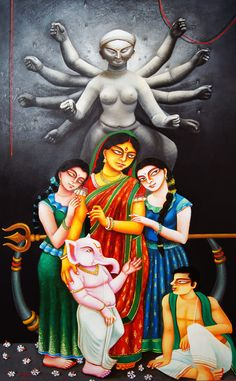Buy Durga family painting online - the original artwork by artist Gautam Mukherjee, exclusively available at Mojarto only. Check price, images and description online. Durga Maa Paintings, Durga Painting, Lord Ganesha Paintings, Indian Art Paintings, Madhubani Painting, Indian Folk Art, Indian Artist, Figure Sketching, Figure Drawing