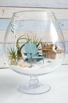 DIY Beachy Air Plant Mini Garden Terrarium – Sustain My Craft Habit - The Cutest DIY Fairy Garden! Learn How To Make A Beach Mini Garden Terrarium Imágenes efectivas que - Seashell Crafts, Beach Crafts, Diy And Crafts, Beach Themed Crafts, Cork Crafts, Upcycled Crafts, Homemade Crafts, Wooden Crafts, Bottle Crafts